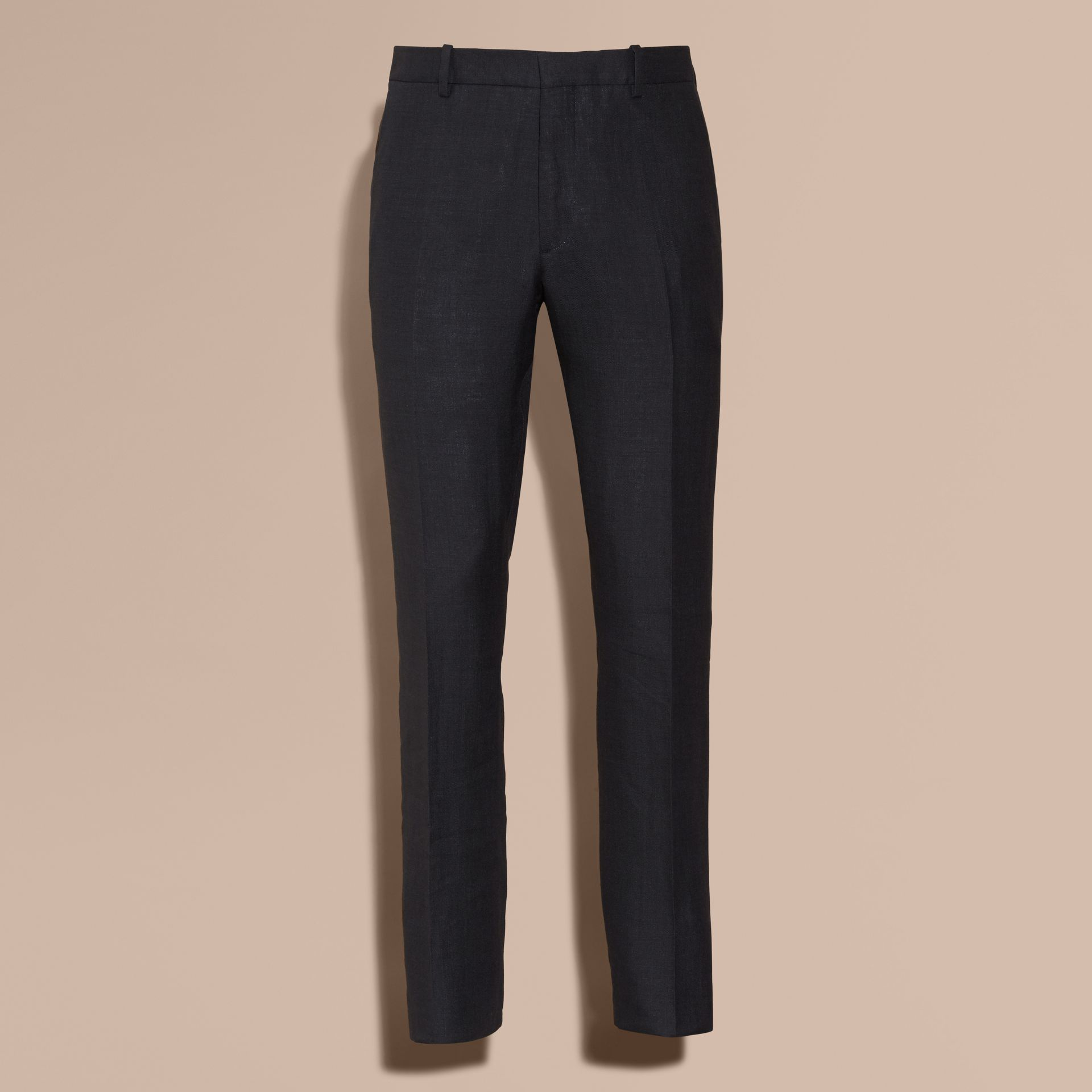 Dark navy Modern Fit Linen Wool and Silk Trousers - gallery image 4