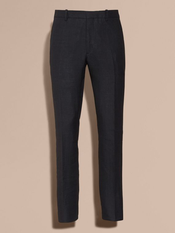 Dark navy Modern Fit Linen Wool and Silk Trousers - cell image 3
