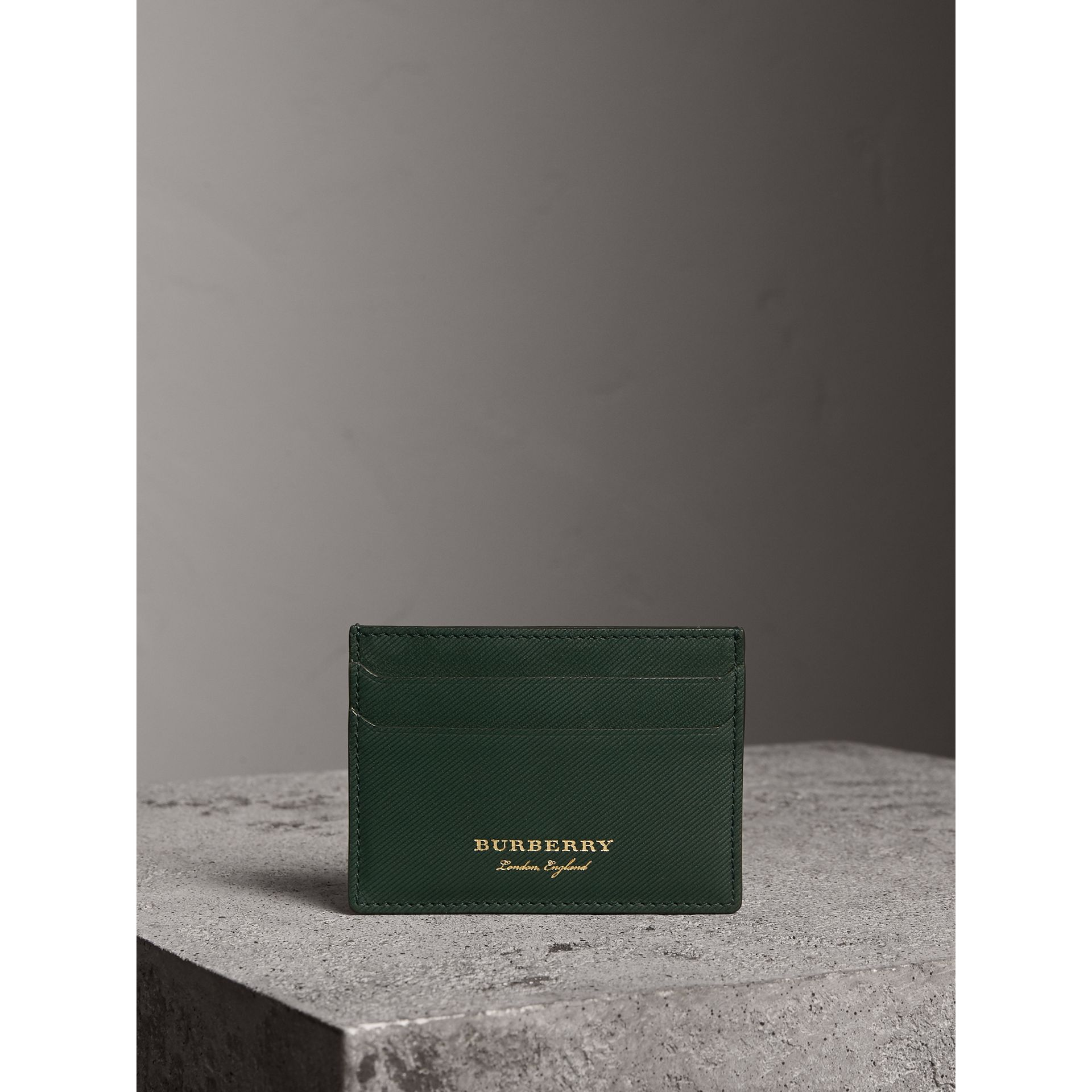 Trench Leather Card Case in Dark Forest Green | Burberry - gallery image 4