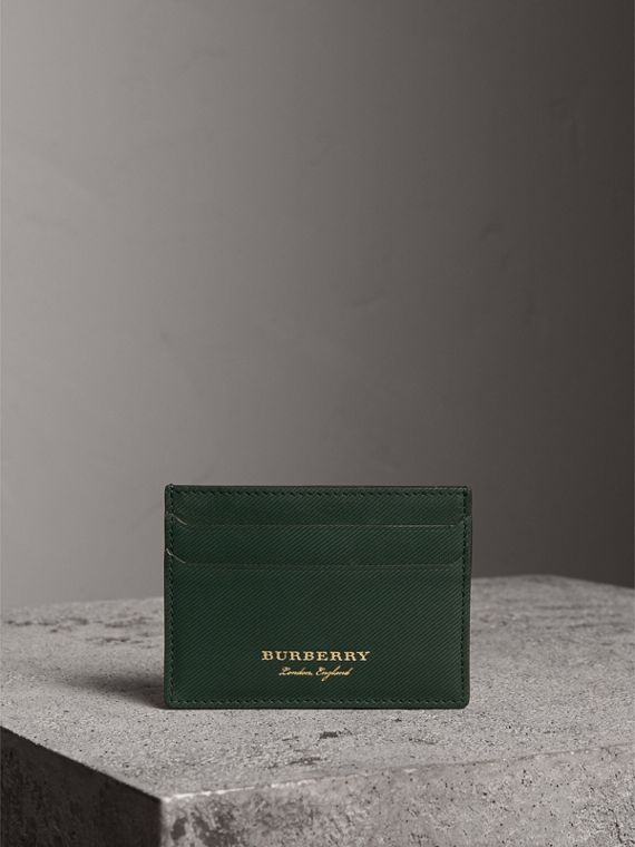 Trench Leather Card Case in Dark Forest Green | Burberry - cell image 3