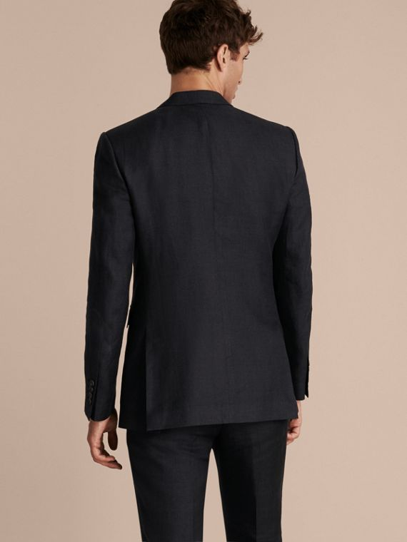 Dark navy Modern Fit Linen Wool Silk Jacket - cell image 2