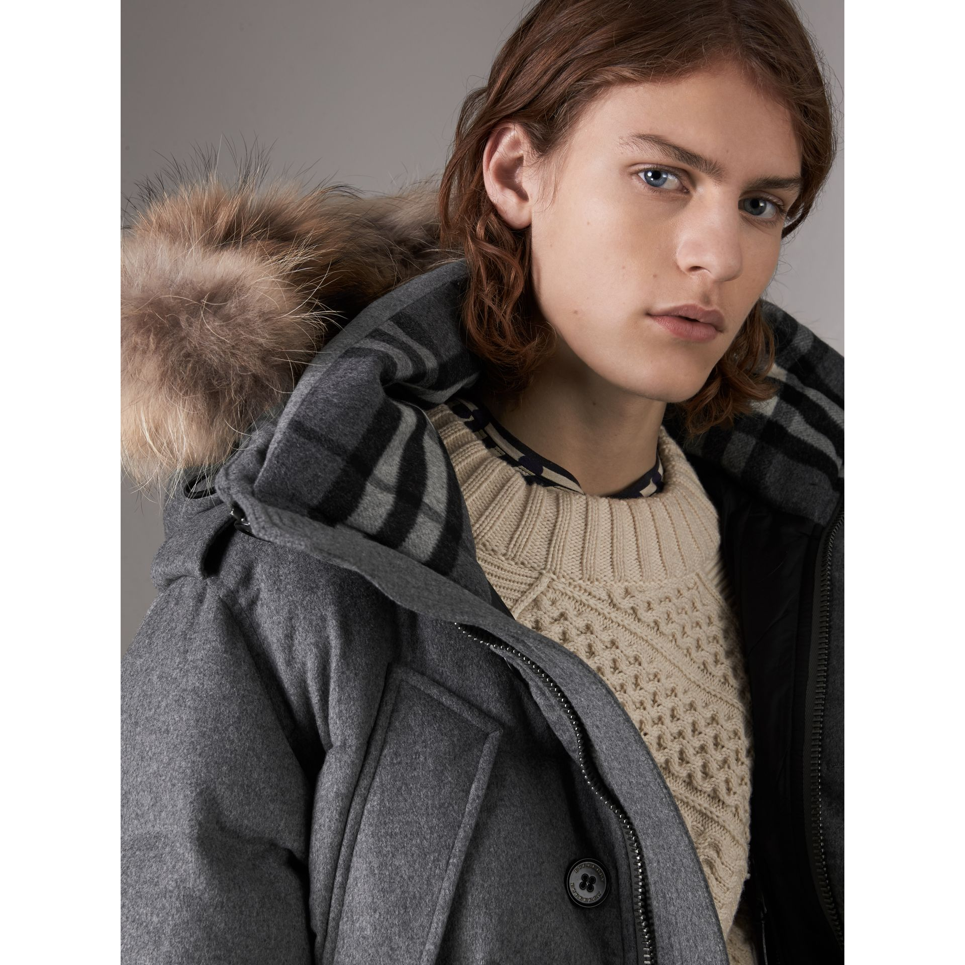 Down-filled Cashmere Hooded Parka in Mid Grey Melange - Men | Burberry - gallery image 1