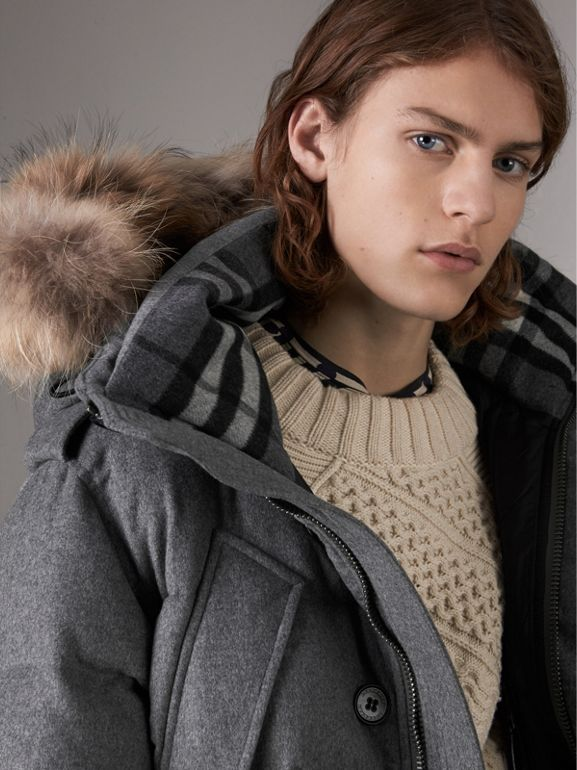 Down-filled Cashmere Hooded Parka in Mid Grey Melange - Men | Burberry - cell image 1