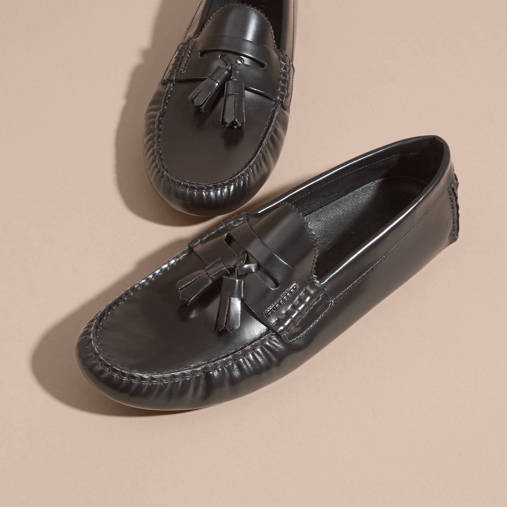 Black Tasselled Polished Leather Loafers Black - gallery image 3
