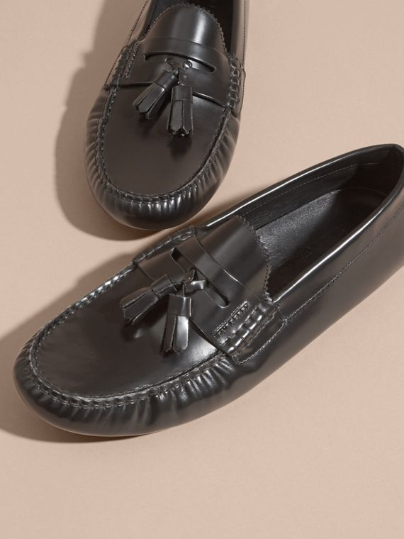 Black Tasselled Polished Leather Loafers Black - cell image 2