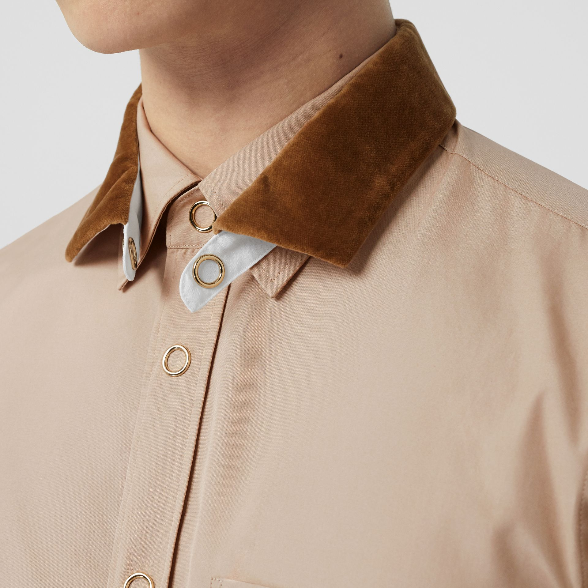 Classic Fit Detachable Collar Cotton Poplin Shirt in Soft Fawn - Men | Burberry - gallery image 1