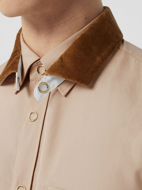 Classic Fit Detachable Collar Cotton Poplin Shirt in Soft Fawn - Men | Burberry - cell image 1