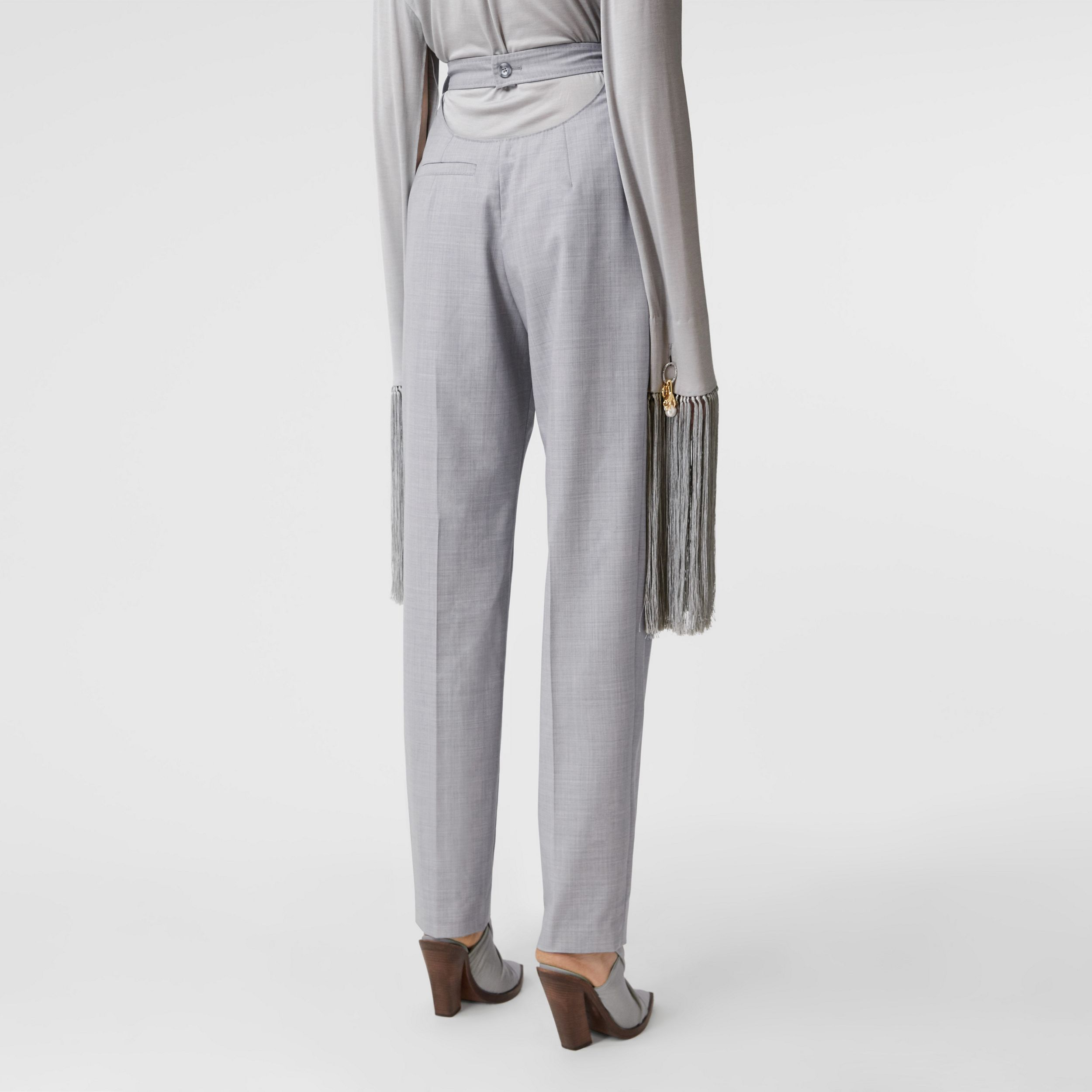Cut-out Detail Wool Tailored Trousers in Heather Melange - Women | Burberry - 3