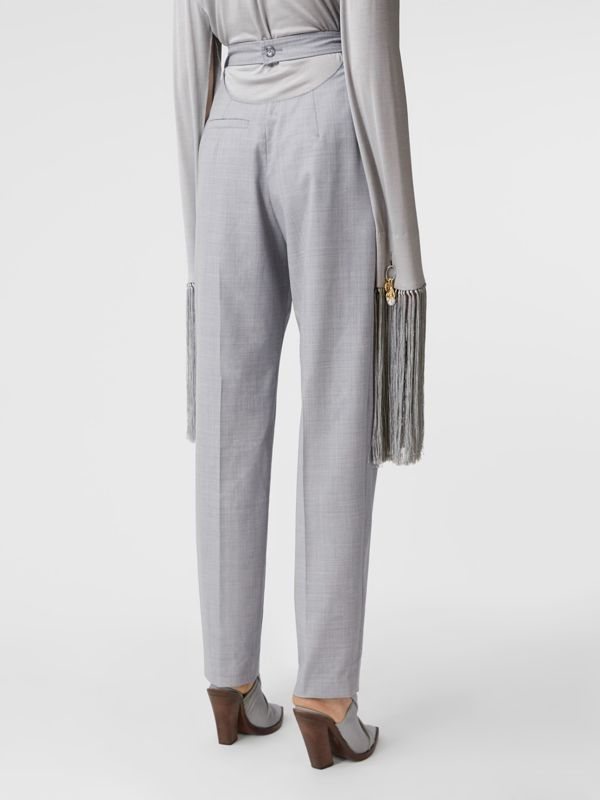 Cut-out Detail Wool Tailored Trousers in Heather Melange - Women | Burberry United States - cell image 2