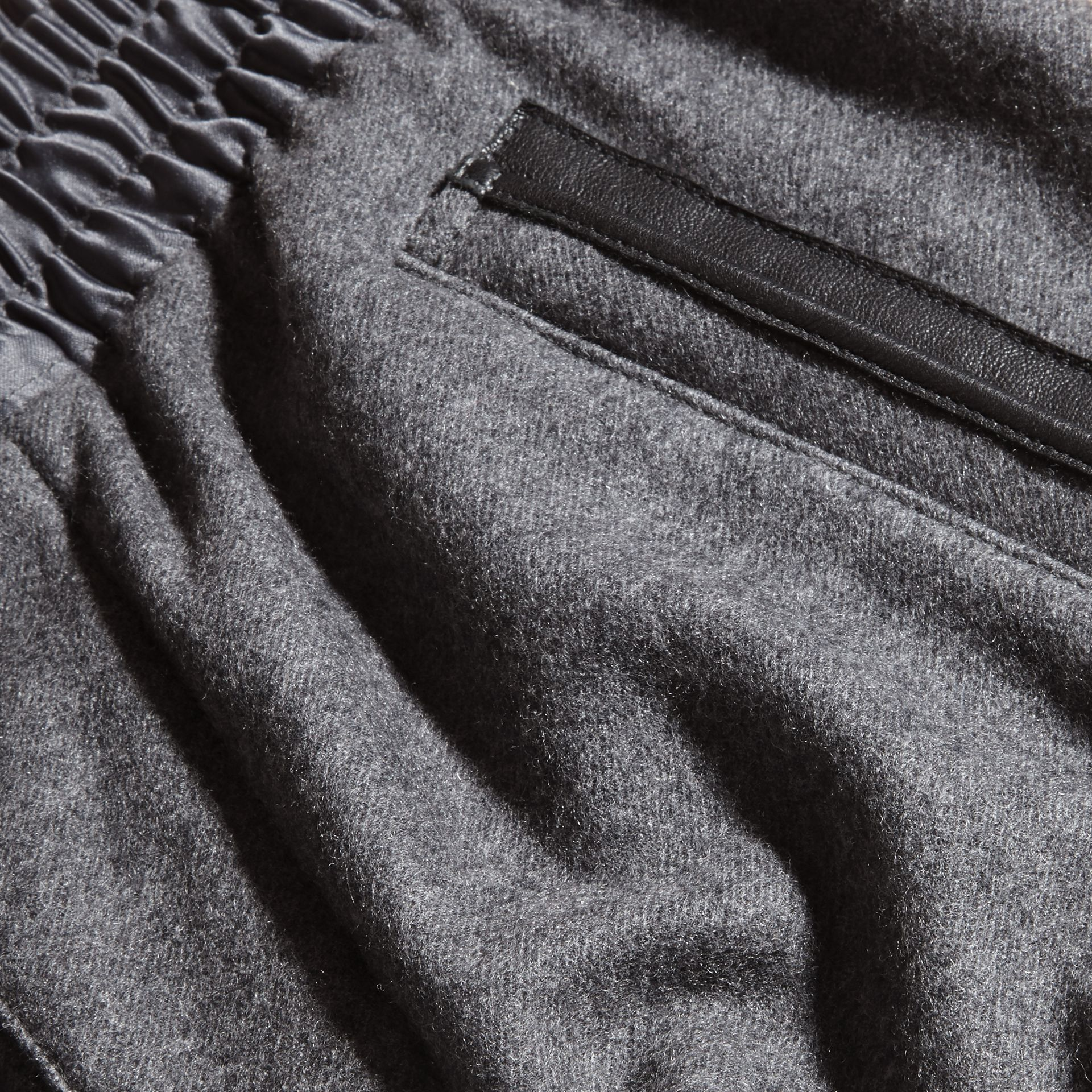 Mid grey melange Leather-trimmed Technical Wool Sweat Pants - gallery image 2