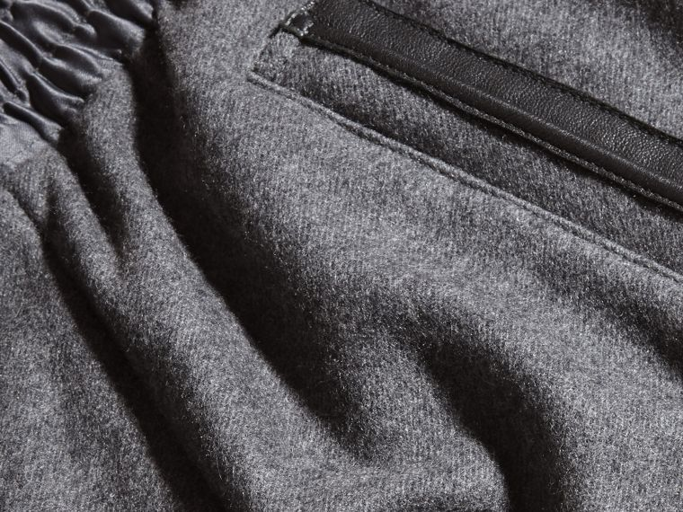 Mid grey melange Leather-trimmed Technical Wool Sweat Pants - cell image 1