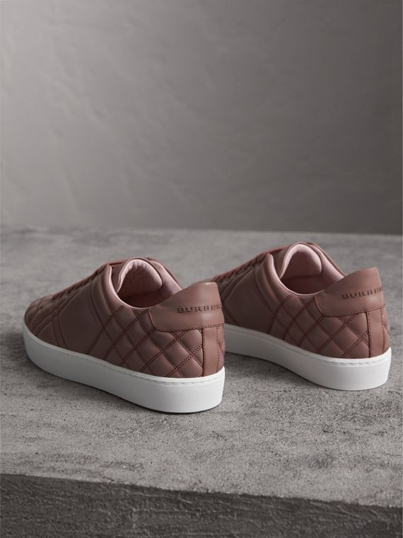 Check-quilted Leather Sneakers in Ivory Pink - Women | Burberry - cell image 3