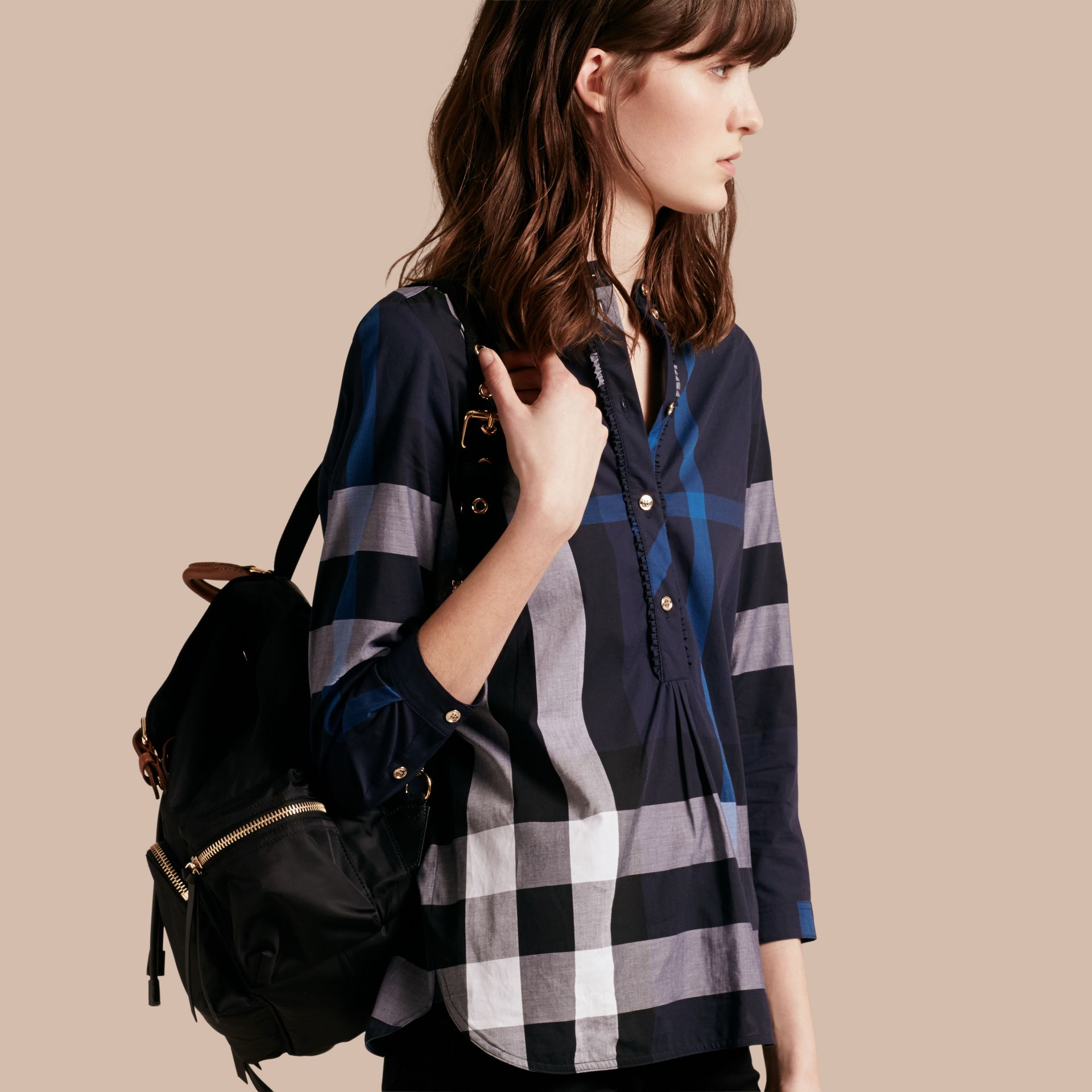Navy check Check Cotton Tunic Shirt Navy - gallery image 1