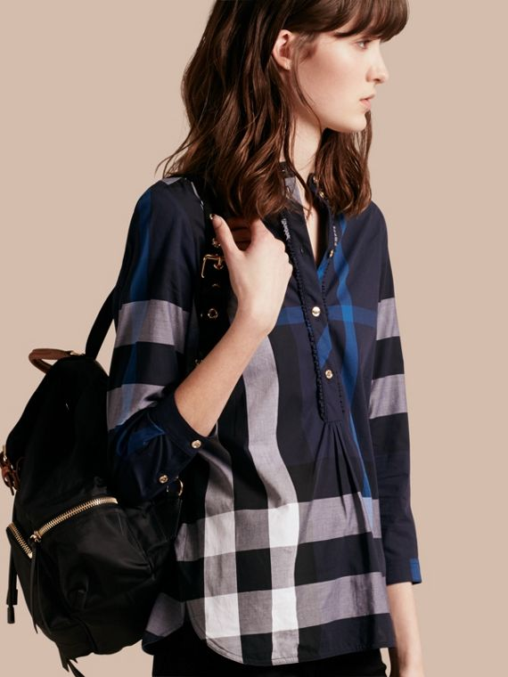 Check Cotton Tunic Shirt Navy
