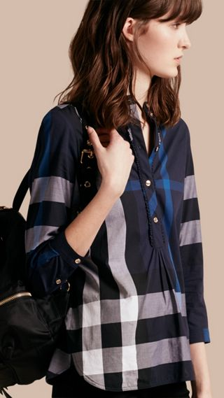Check Cotton Tunic Shirt