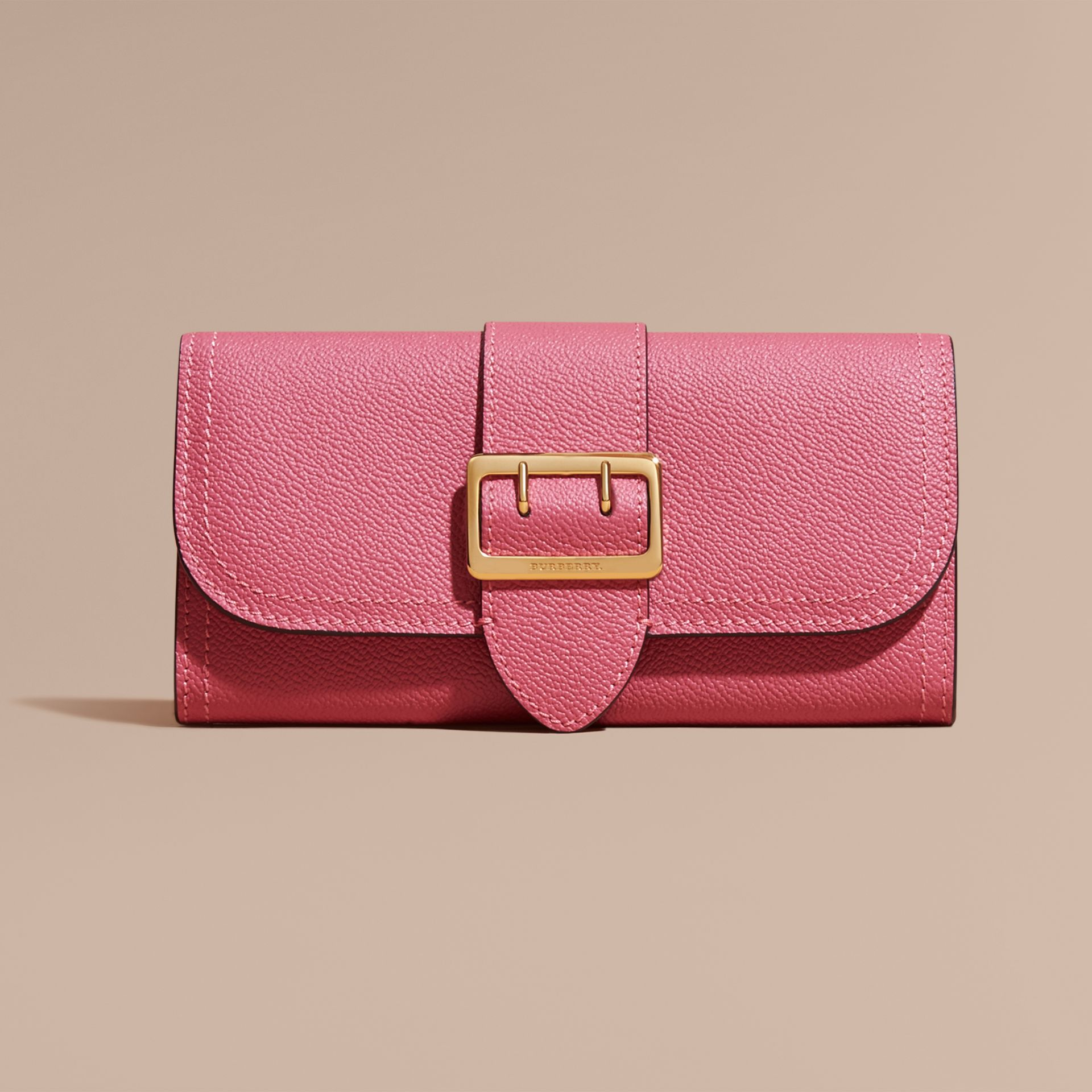 Textured Leather Continental Wallet Pink Azalea - gallery image 2