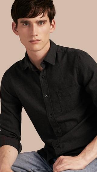 Check Detail Cotton Flannel Shirt