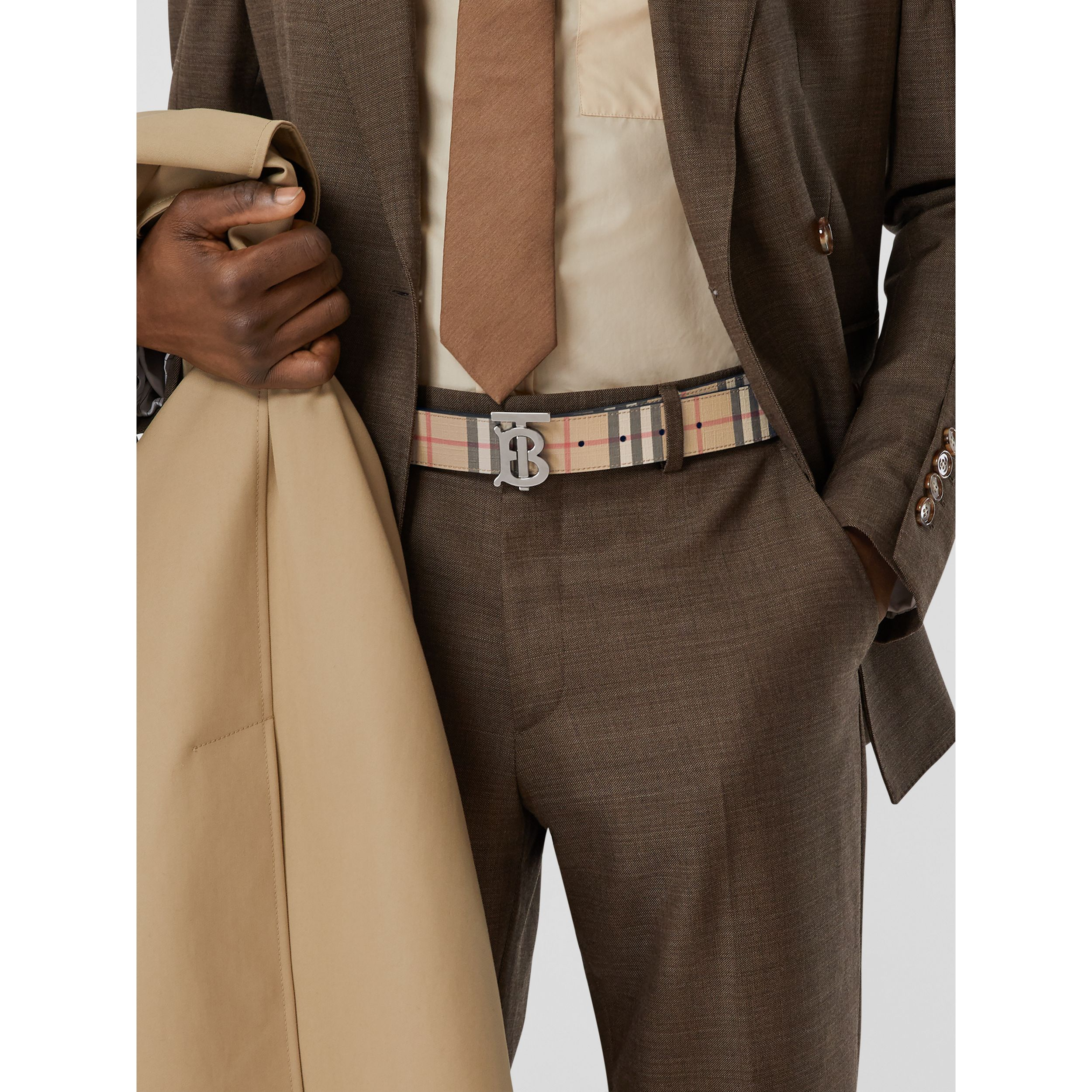 Reversible Monogram Motif Vintage Check Belt in Archive Beige - Men | Burberry - 3