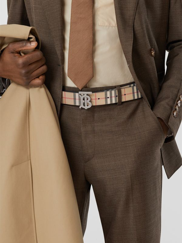 Reversible Monogram Motif Vintage Check Belt in Archive Beige - Men | Burberry - cell image 2