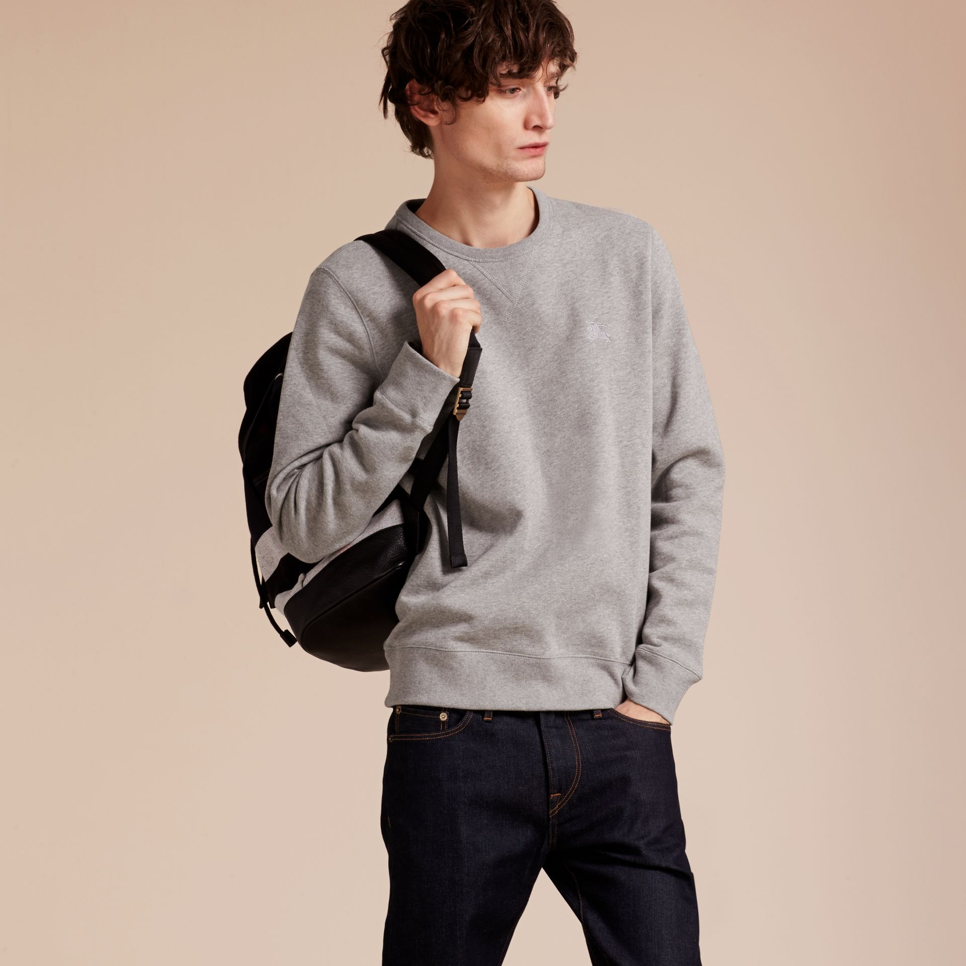 Cotton Blend Jersey Sweatshirt Pale Grey Melange - gallery image 6