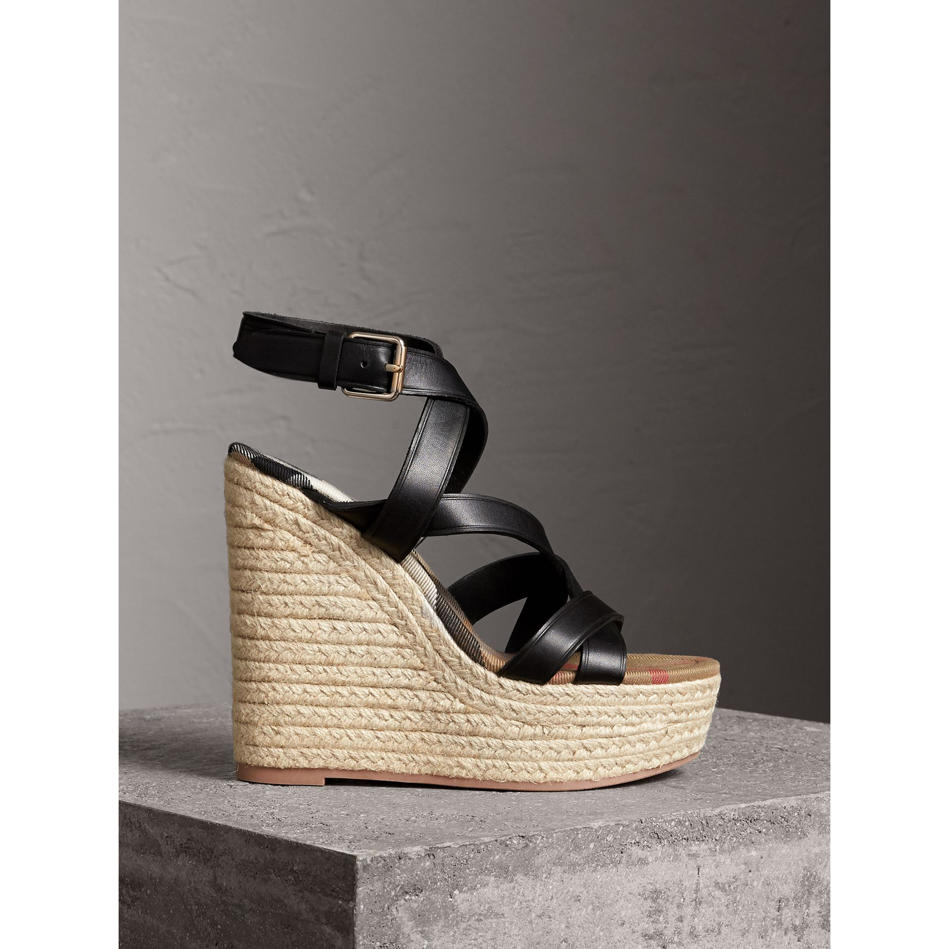 Leather Platform Espadrille Wedge Sandals in Black - Women | Burberry - gallery image 1