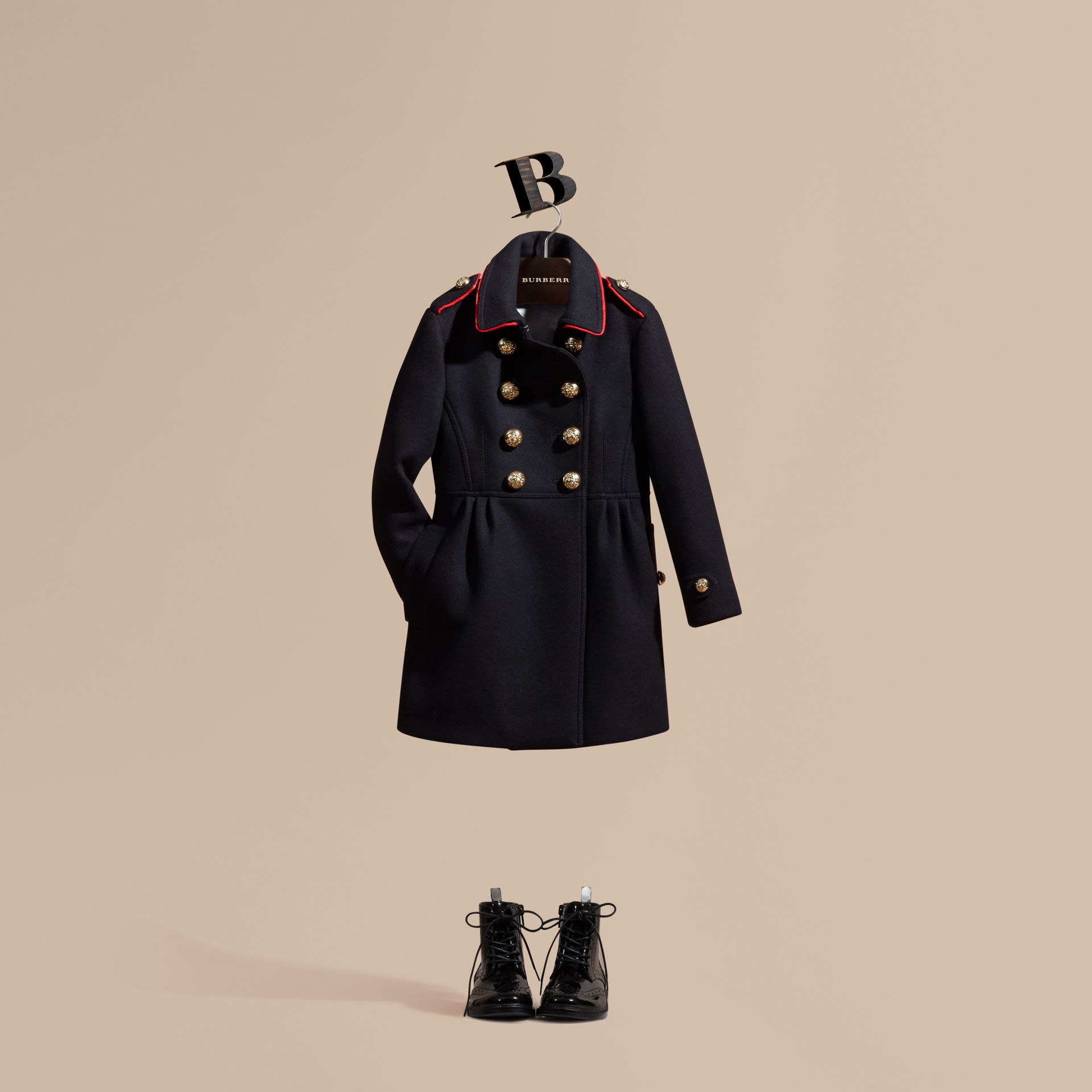 Navy Regimental Detail Wool Cashmere Blend Coat - gallery image 1