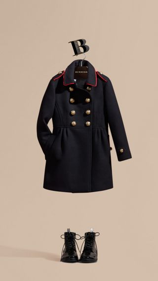 Regimental Detail Wool Cashmere Blend Coat