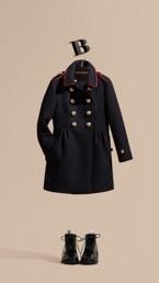 Regimental Detail Wool Cashmere Blend Coat