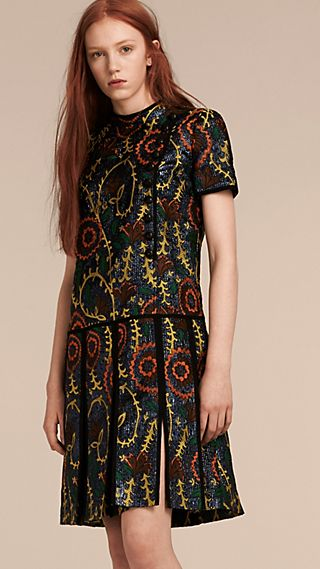 Floral Jacquard Drop Waist Dress