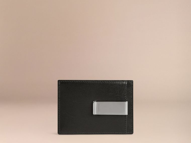 London Leather Money Clip Card Case in Black - Men | Burberry Canada - cell image 1