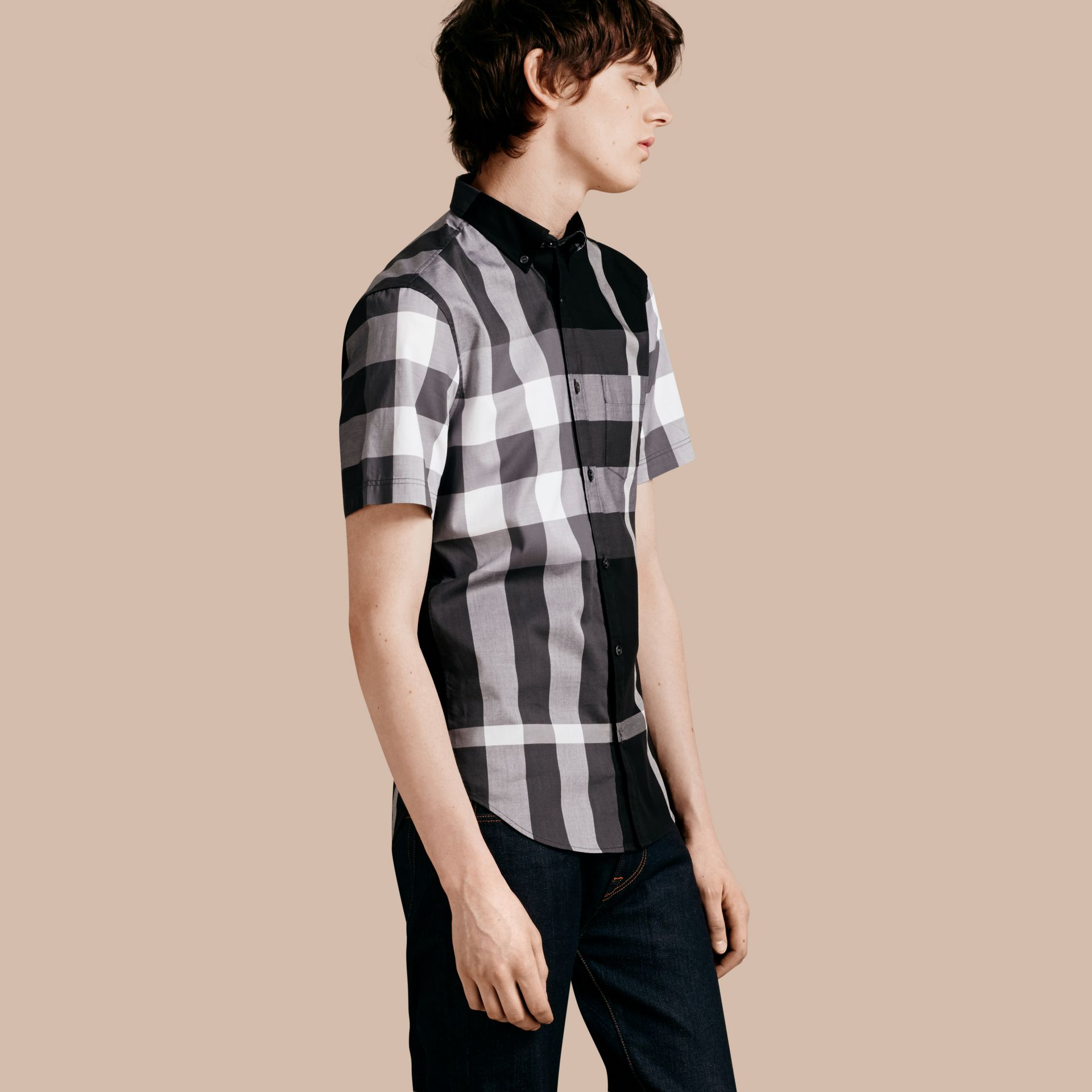 Black Short-sleeved Check Cotton Shirt Black - gallery image 1