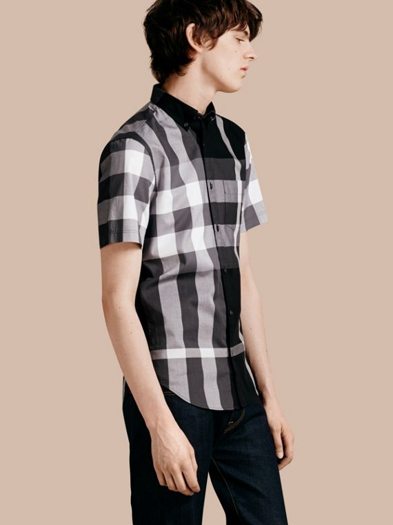 Short-sleeved Check Cotton Shirt Black