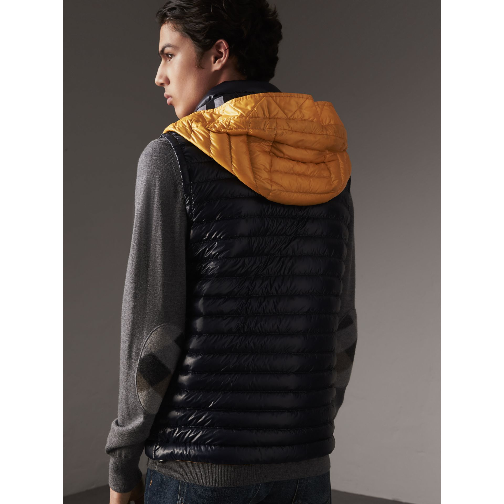 Detachable Hood Packaway Goose-down Gilet in Navy - Men | Burberry - gallery image 3