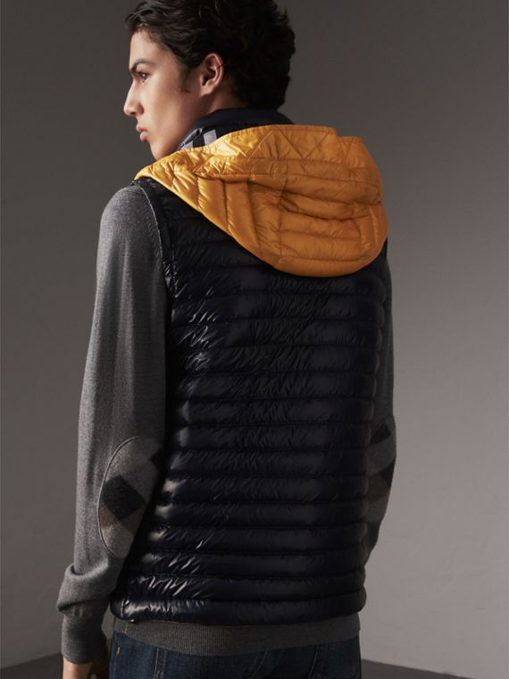 Detachable Hood Packaway Goose-down Gilet in Navy - Men | Burberry - cell image 2