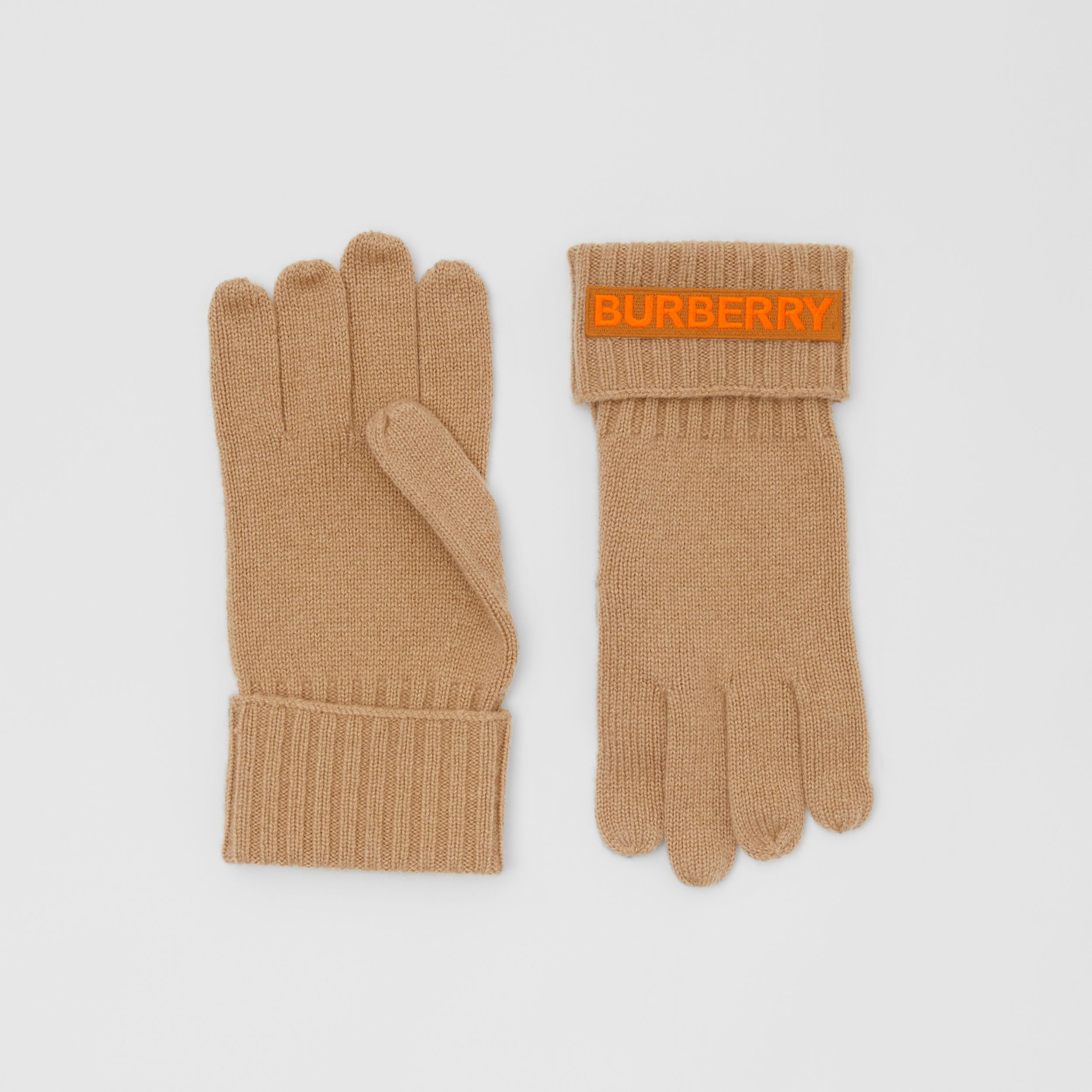 Kingdom and Logo Appliqué Cashmere Gloves in Archive Beige | Burberry - 1