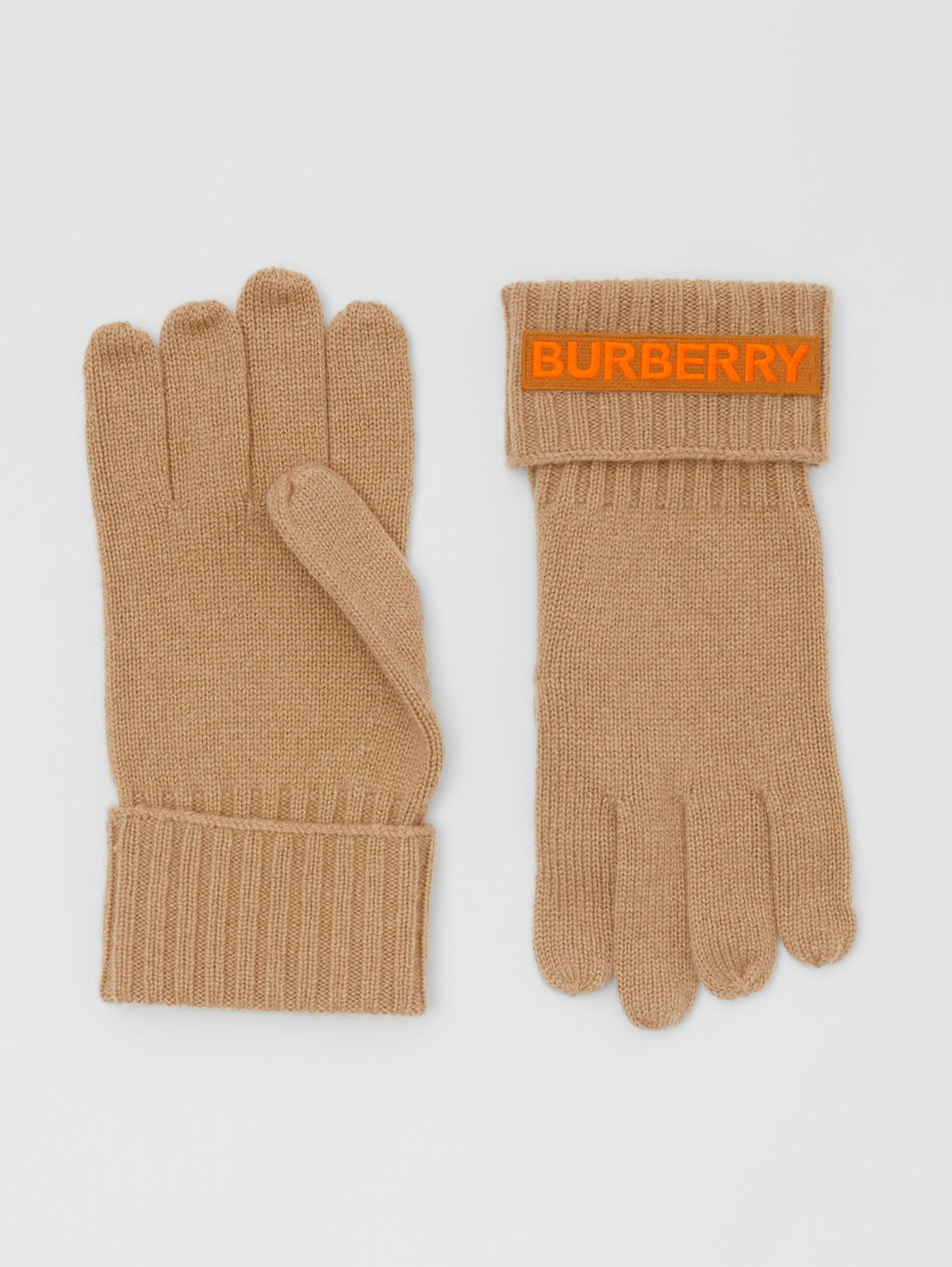 Kingdom and Logo Appliqué Cashmere Gloves in Archive Beige