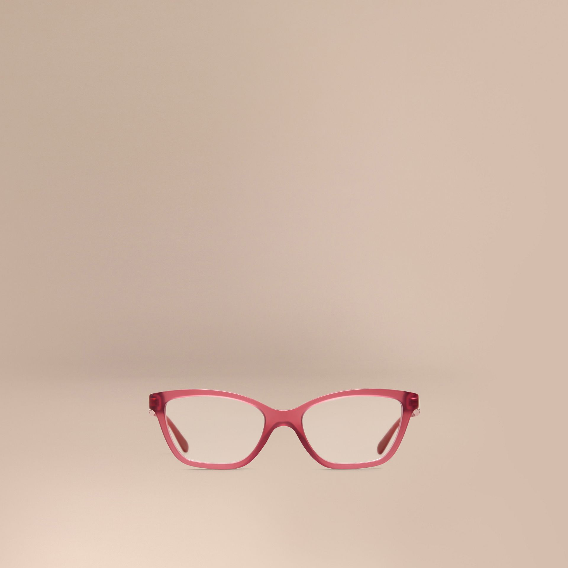 Red Check Detail Cat-eye Optical Frames Red - gallery image 2