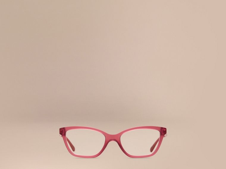 Red Check Detail Cat-eye Optical Frames Red - cell image 1