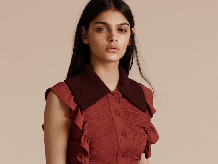 Vermelho canela Vestido camisa com pregas e babados - cell image 4