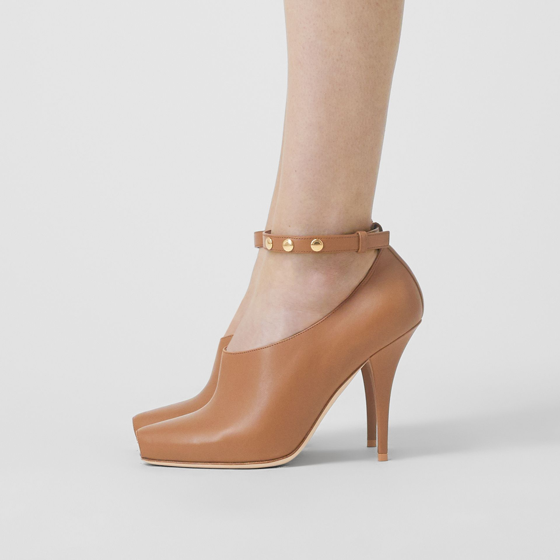 Leather Peep-toe Pumps in Amber Brown - Women | Burberry - gallery image 2