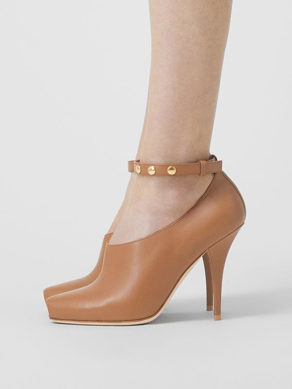 Leather Peep-toe Pumps in Amber Brown - Women | Burberry - cell image 2