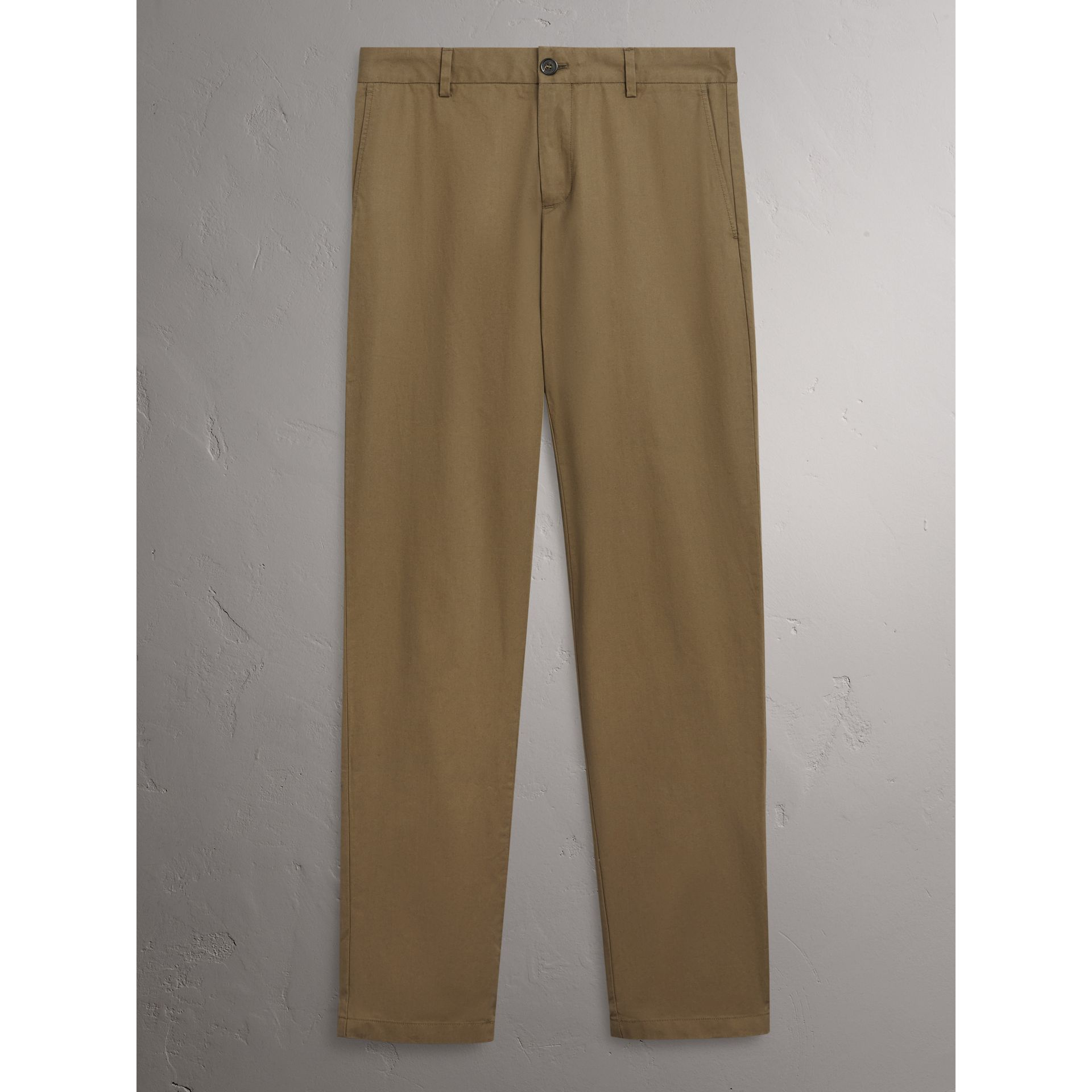 Slim Fit Cotton Chinos in Olive Green - Men | Burberry - gallery image 2