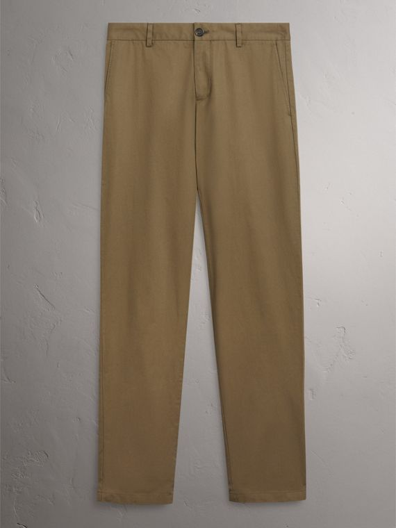 Slim Fit Cotton Chinos in Olive Green - Men | Burberry Singapore - cell image 2