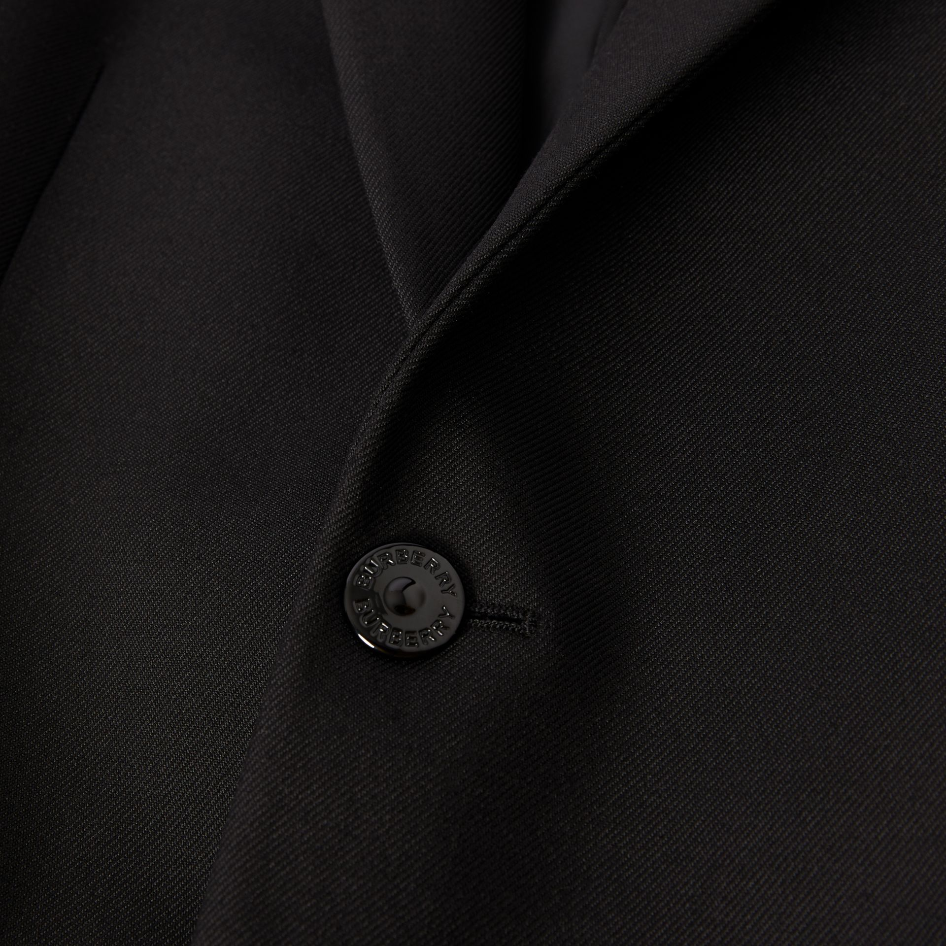 Classic Fit Lambskin Detail Wool Tailored Jacket in Black | Burberry United Kingdom - gallery image 6