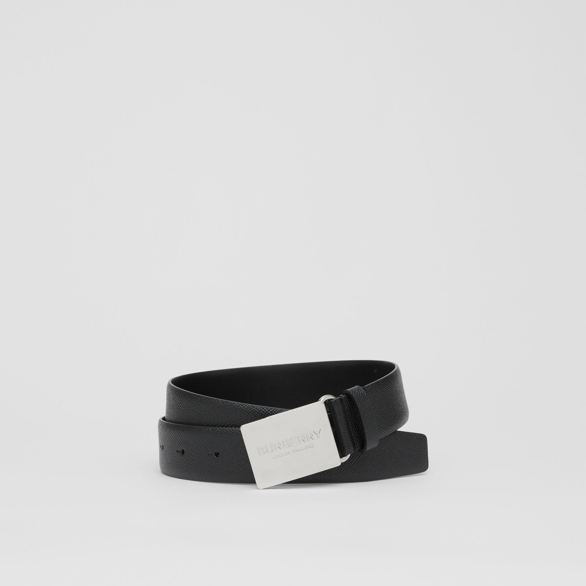 Plaque Buckle Grainy Leather Belt in Black - Men | Burberry Singapore - gallery image 0