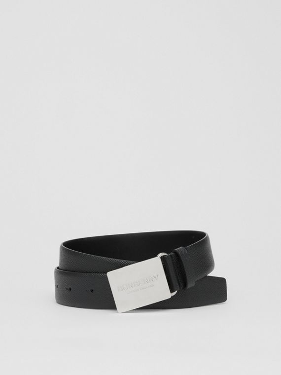 Plaque Buckle Grainy Leather Belt in Black