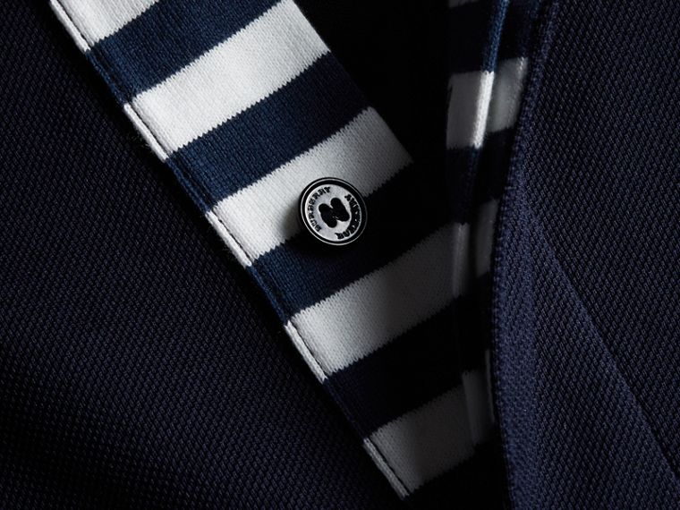 Striped Placket Cotton Piqué Polo Shirt in Navy - Men | Burberry Canada - cell image 1