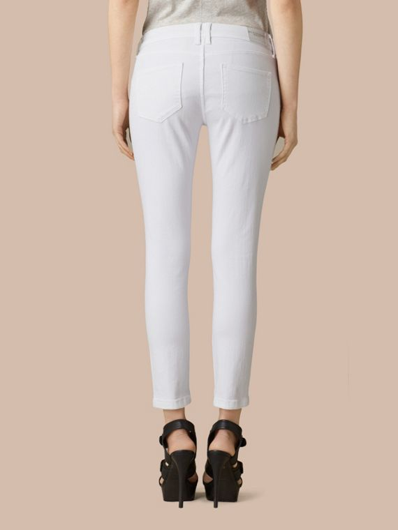 White Skinny Fit Low-Rise Cropped Jeans - cell image 2