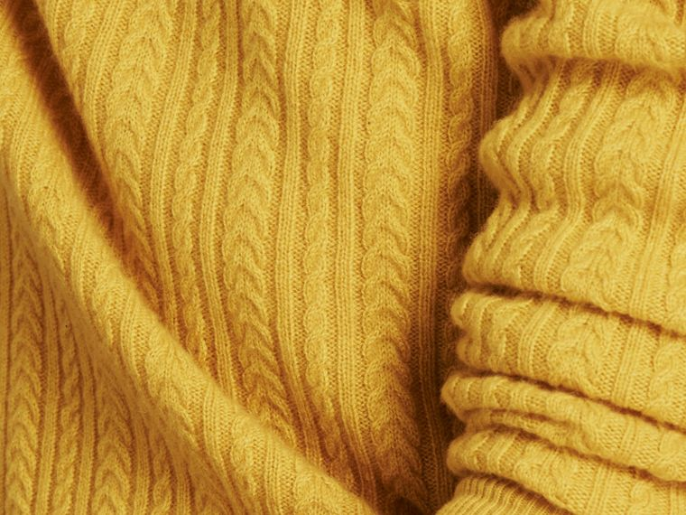 Citrus yellow Aran Knit Cashmere Sweater Citrus Yellow - cell image 4