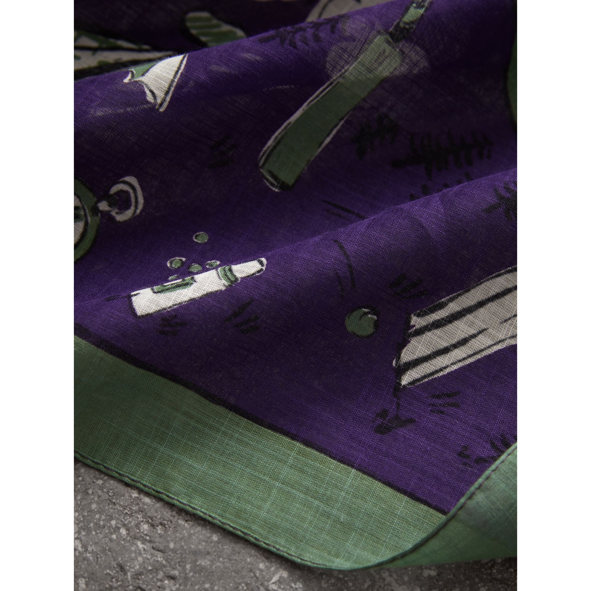 Picnic Print Cotton Scarf in Regency Purple | Burberry United Kingdom - gallery image 1